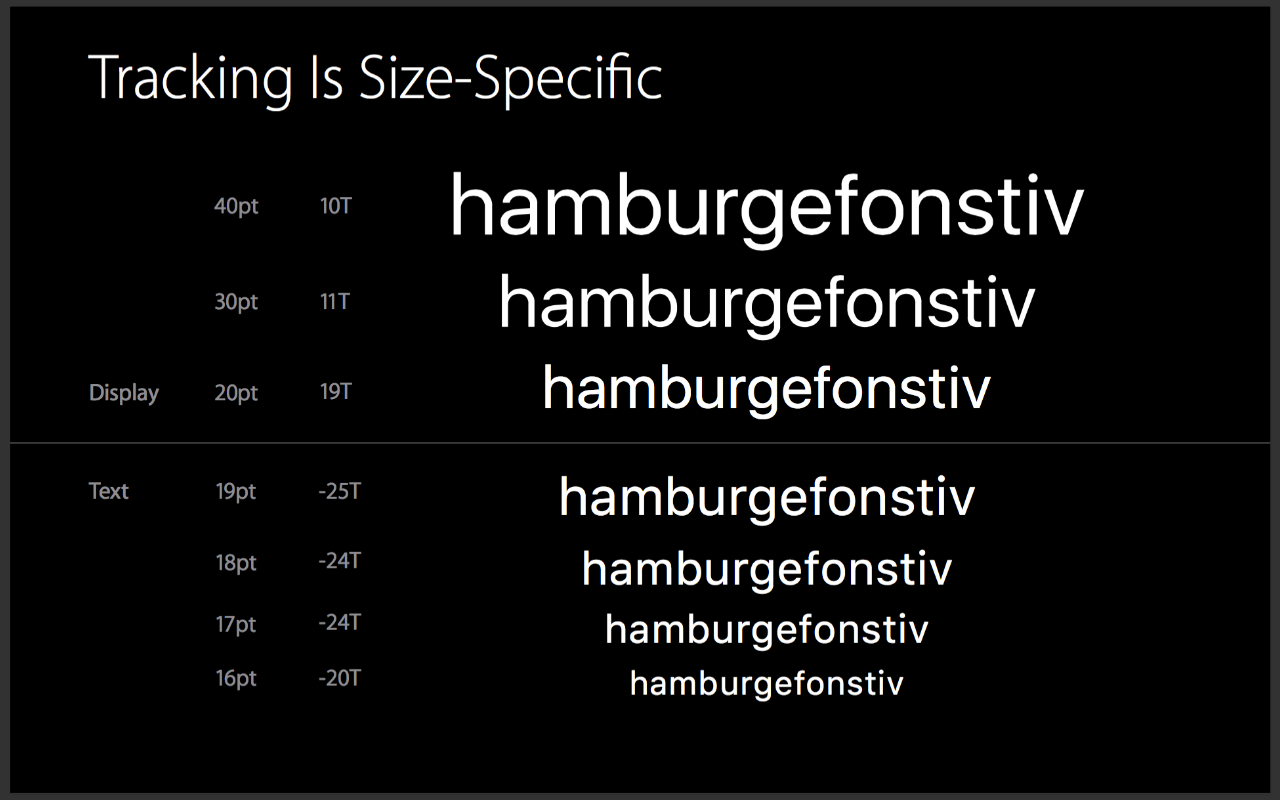 apple font size tracking