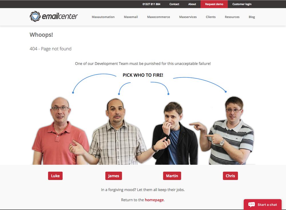 Email Center UK 404 오류 페이지