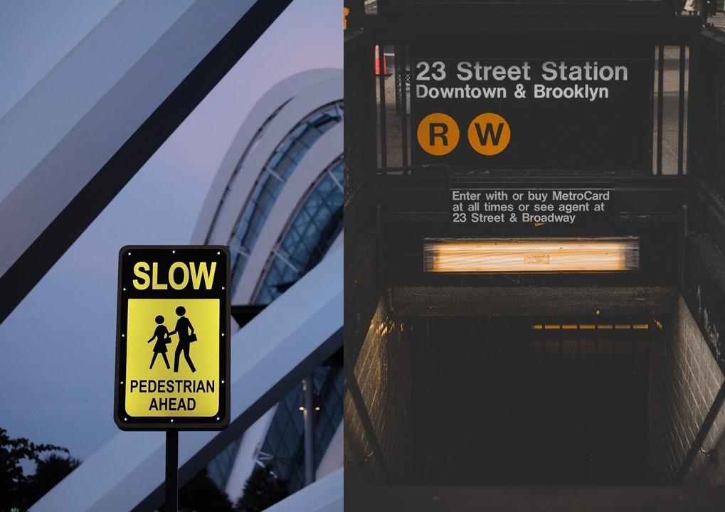 좌:교통 표지판,우:지하철 사인